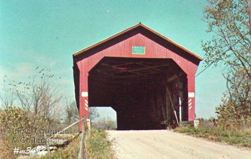 COVERED BRIDGE POSTCARD – OLD RACCOON COVERED BRIDGE, PUTNAM CO, IN.