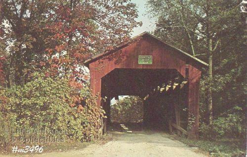 COVERED BRIDGE POSTCARD – CORNSTALK BRIDGE, PUTNAM CO, INDIANA
