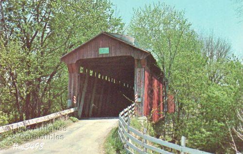 POSTCARD – DICK HUFFMAN COVERED BRIDGE, PUTNAM CO, IN.