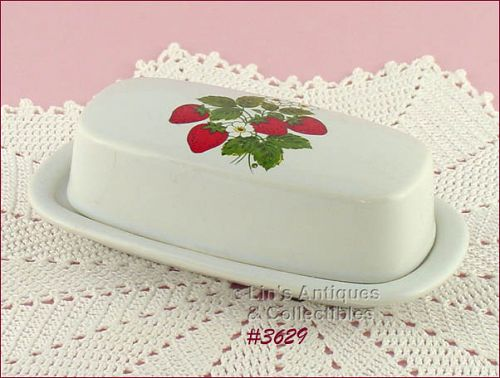 McCOY POTTERY – STRAWBERRY COUNTRY COVERED BUTTER DISH