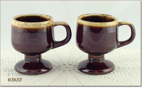 McCOY POTTERY – BROWN DRIP PEDESTAL CUPS (2)