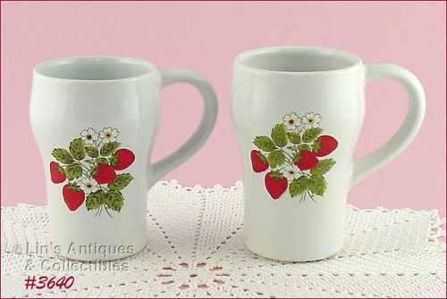 McCOY POTTERY – STRAWBERRY COUNTRY TALL MUGS (2)