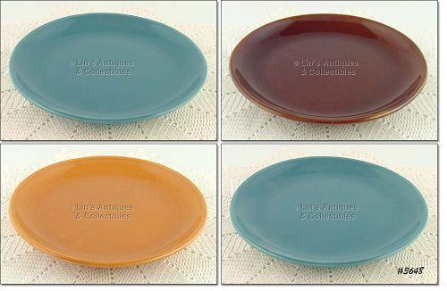 McCOY POTTERY – SUBURBIA WARE DINNER PLATES (4)