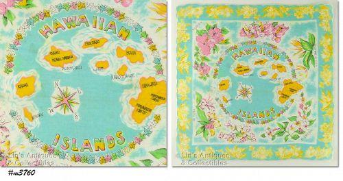 STATE SOUVENIR HANDKERCHIEF, HAWAIIAN ISLANDS