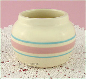McCOY POTTERY – PINK AND BLUE CONDIMENT JAR / BOWL