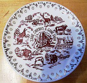Souvenir Plate Zane Caverns & Game Farm, Ohio