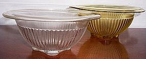 """Federal Glass Ribbed Mixing Bowls, 8"""" Amber -  7"""" Clear"""