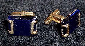 Blue Lucite Cuff Links
