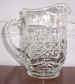 Small Clear Prescut Glass Juice / Syrup n/ Milk Pitcher