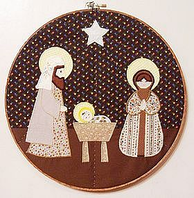 Appliqued Quilted Nativity Scene Wall Hanging
