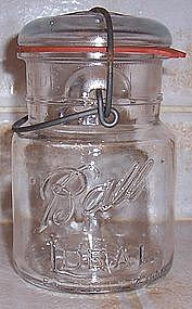 Ball Ideal Pint Canning Jar w/ Wire and Glass Top