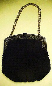 Ladies vintage  art deco black crochet purse
