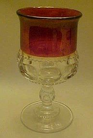 """Tiffin kings crown water goblet ruby flashed  5 3/4"""""""