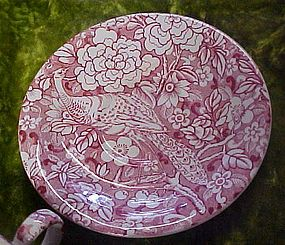Old red chintz with peacock pattern lg cup & saucer