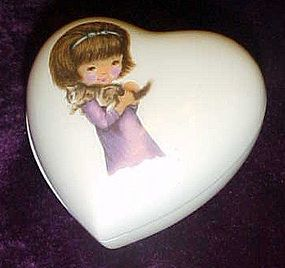 Vintage Karen Carson porcelain heart box with candle