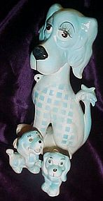 Vintage Kreiss Blue dog and puppies family rhinestones