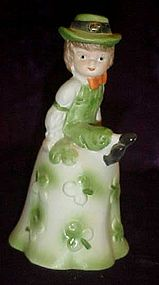 Porcelain Irish boy and shamrocks bell
