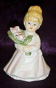 Little girls holding roses porcelain bell