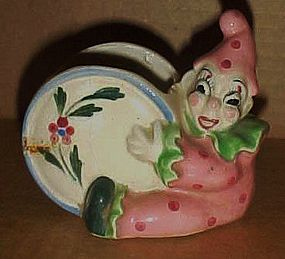 Old Japan pottery clown planter with drum