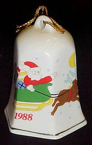 Porcelain bell ornament with Santa sleigh and reindeer