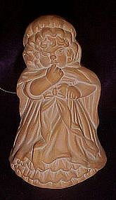 Terra Cotta Christmas figural bell of a Victorian child