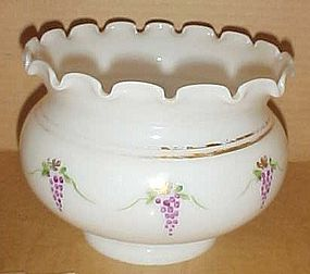 Vintage milk glass hand painted grapes lamp shade
