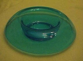 Fostoria pioneer rolled edge console bowl electric blue