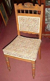 Four antique oak carved  dining chairs chintz tapestry