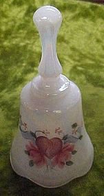 Fenton opalescent pearl heart and roses bell