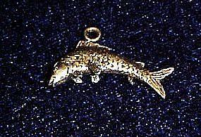 Vintage sterling silver fish charm for bracelet