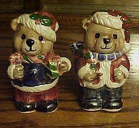 Adorable ceramic lustre finish Santa bear shakers