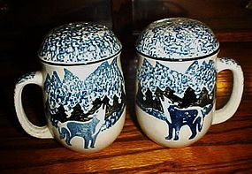 Large Howling wolf sponged salt and pepper shakers