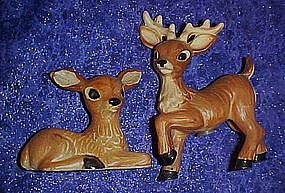 Vintage Buck and Doe salt and pepper shakers