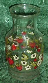 Anchor Hocking  blooming strawberry glass carafe