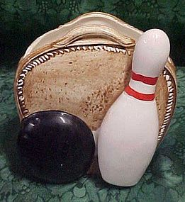 Vintage Relpo bowling bag, pin and ball planter 5865#