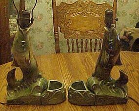 Vintage drip glaze fish lamp and matching cache