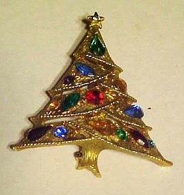 Great JJ Rhinestone Christmas tree pin Jonette