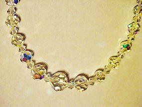 Vintage aurora borealis cut crystal bead necklace