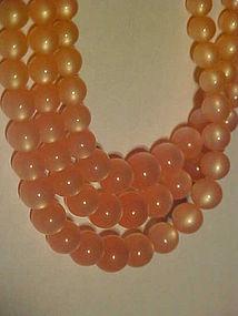 Vintage Richelieu pink moonstone triple strand necklace