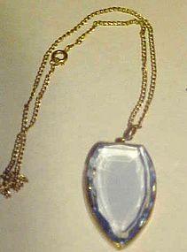 Vintage blue topaz color pendant on chain