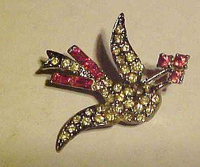 Vintage rhinestone flying sparrow bird pin