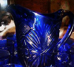 Mosser cobalt blue pressed pattern pitcher 8 glasses