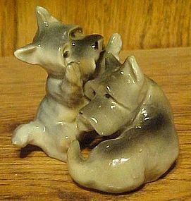 Vintage pair Ucago scotty dog figurines