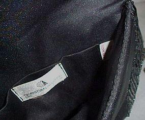 Vintage Christian Aujard black glass beaded purse