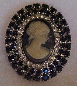 Vintage black rhinestone cameo pin