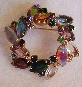 Vintage circle wreath pin with multi color marquis