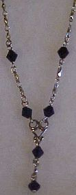 Avon silvertone and black crystal drop necklace
