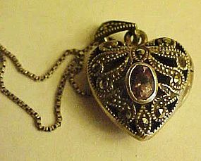 Gorgeous marcasite and amethyst heart locket and chain