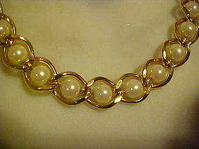 Quality faux pearl links choker necklace