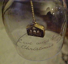 Crystal bell with gold manger clacker, Love was born...